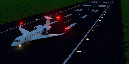 Luxury business jet on runway. Extremely detailed and realistic high resolution 3d image Banco de Imagens