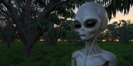 Alien Grey Humanoid Extraterrestrial Siendo una imagen 3d de alta resolución extremadamente detallada y realista