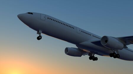 Airplane Flying Aviation 3D image