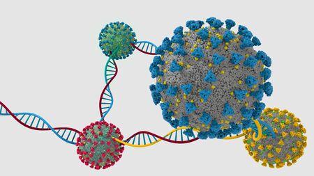 Coronavirus Mutation DNA Helix 3D image