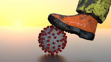 Coronavirus Covid-19 shoe 3d image