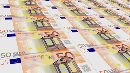 50 euro banknote stack 3d image Stock Photo