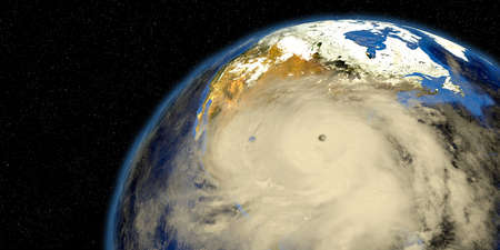 Two Hurricanes making Landfall in Texas and Florida. Shown from Space.