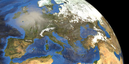 Stormy Tornado Winds over Europe. Earth shot from space.