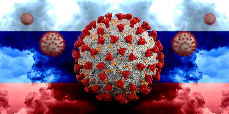 Coronavirus Covid-19 with Flag of Russia. Extremely detailed 3d rendering 版權商用圖片