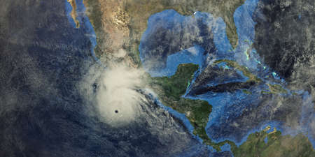 Hurricane approaching California. Shot from Space. 스톡 콘텐츠
