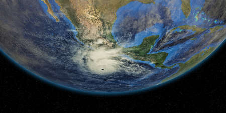 Hurricane approaching California. Shot from Space. Elements of this 3D rendering 스톡 콘텐츠