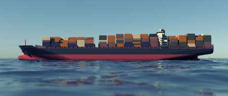 Cargo Container Ship at the sea. Extremely detailed and realistic high resolution 3d rendering
