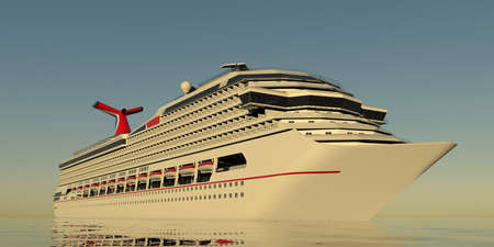 Luxury Cruise Ship. Extremely detailed and realistic high resolution 3d illustration
