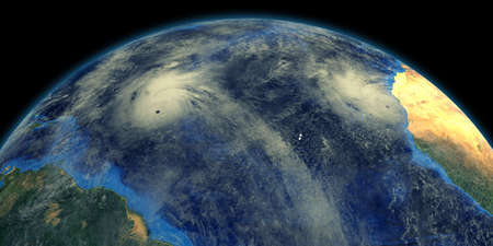 Hurricanes in the atlantic ocean shown from Space.