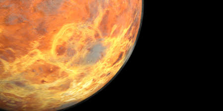 Planet Venus with visible clouds or gas shown from Space. Stock Photo