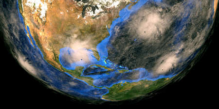 Hurricane Sally Paulette Teddy and Karina approaching the USA. Shot from Space.