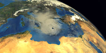 Medicane Ianos Mediterranean Hurricane approaching Greece. Shot from Space. Stock Photo