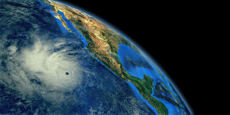 Hurricane Cloud shown from Space. Extremely detailed and realistic high resolution 3d rendering. Stock Photo