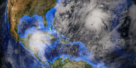 Hurricane Epsilon shown from Space. Extremeley detailed and realistic high resolution 3D rendering.