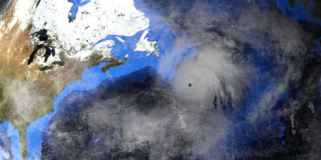 Hurricane Zeta and Epsilon with Earth shown from Space.