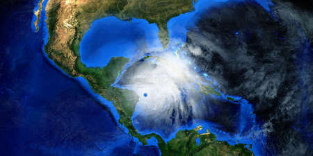 Hurricane Eta making Landfall in Nicaragua. Shot from Space. Stock Photo