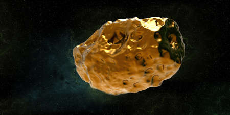 Golden Asteroid 16 Psyche in Space. Extremely detailed high resolution 3d render Stock Photo