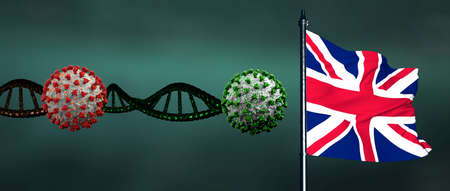 Coronavirus Covid-19 Mutation with Flag of Great Britain. Extremely detailed and high resolution 3d render