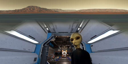 Mars underground station with grey Alien. Extremely detailed and realistic high resolution 3d render