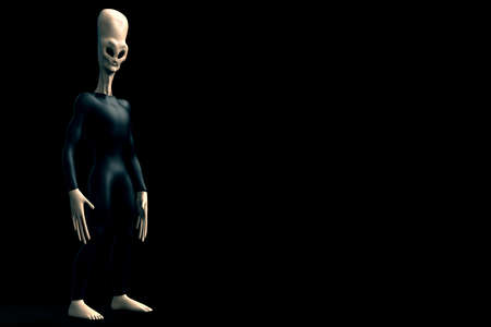 Grey Alien Humanoid ET Creature with long head. Extremely detailed and realistic high resolution 3d render Stock Photo