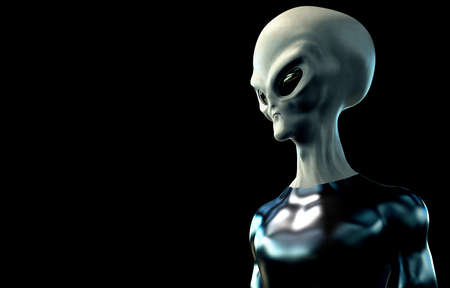 Grey Alien Humanoid ET Character on black Background. Extremely detailed and realistic high resolution 3d render