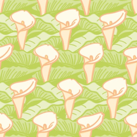 Calla Lily seamless vector pattern. Floral illustration in yellow, orange and green. Ilustracja