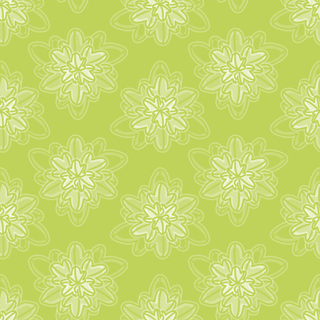 Doodle plant leaf vector repeat pattern. Natural seamless illustration in green.