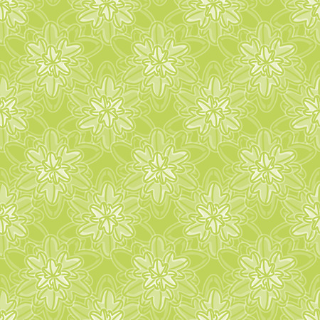 Seamless vector pattern of overlapped star leaves. Cute nature illustration in soft shades of green and brown.