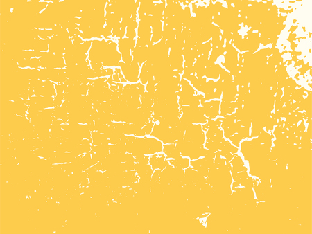 Yellow damage surface background texture. Vector wall cracks pattern overlay.