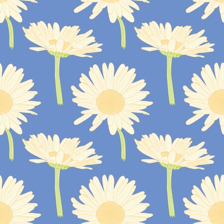 Orange and white doodle daisy pattern illustration. Floral over blue seamless vector background.