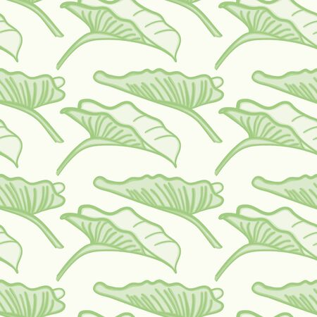 Calla lily leaves vector repeat pattern. Green foliage seamless illustration background.