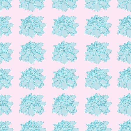 Cute echeveria plant vector repeat pattern. Aqua succulent seamless illustration background.