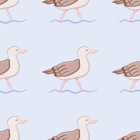 Walking seagull pattern design. Seamless waterbird vector illustration.