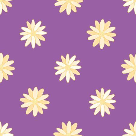 Golden daisies pattern illustration. Minimalist floral seamless vector background. 版權商用圖片 - 134621621