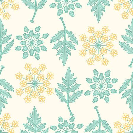Flowers, buds and leaves vector repeat pattern. Wild botany mix seamless illustration background.