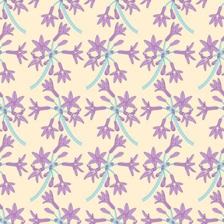 Six petals flower surface pattern design. Purple floral bunch seamless vector illustration.