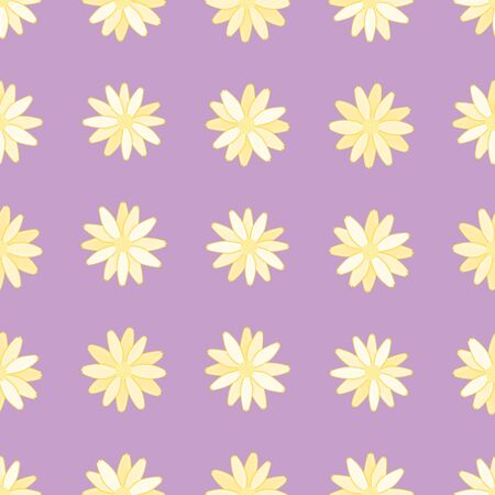 Yellow Daisies repeatable pattern. Simple floral over purple seamless vector illustration.