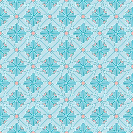 Garden pansies leaves lattice seamless vector pattern. Aqua organic abstract illustration background.