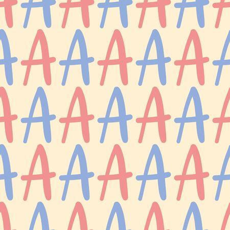 Alphabet letter A vector repeat pattern. Hand-written upper case glyph seamless illustration. Illustration