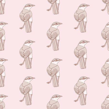 Kawaii Chalk-Browed Mockingbird seamless vector pattern. Cartoon Minus Saturninus bird illustration background.