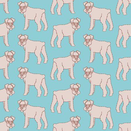 Cute standing Schnauzer seamless pattern Иллюстрация
