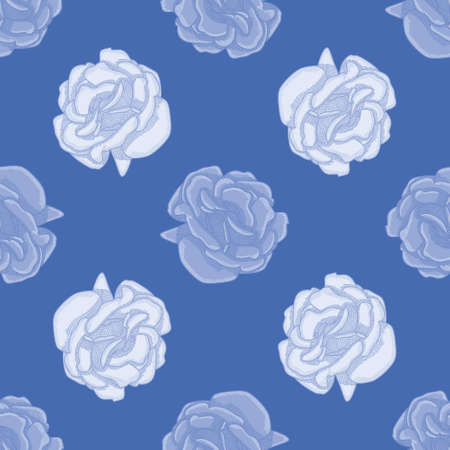 Crosshatching blue rose vector background pattern. Abstract bloom seamless illustration background. Illustration