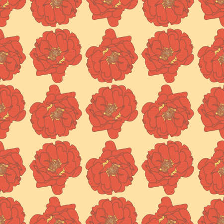 Retros style floral seamless pattern background. Crosshatching Portulaca Grandiflora vector illustration.