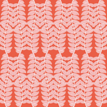 Trailing leaves vector background pattern. Pink pinnated leaflets seamless illustration.