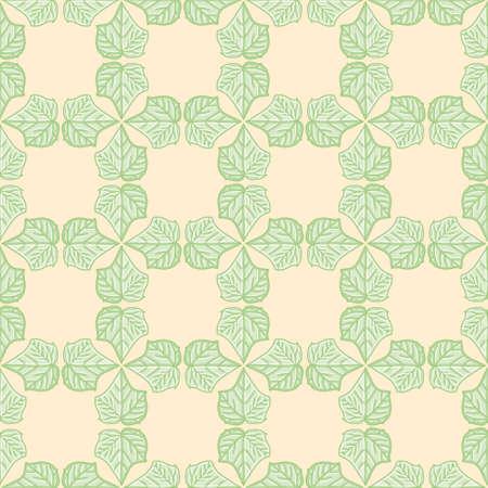 Ivy greenery grid seamless pattern background. Simple Hedera leaf vector illustration. 向量圖像