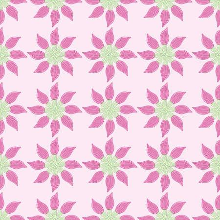 Fuchsia flower buds seamless pattern vector. Cartoon outline botanical illustration background. Illustration