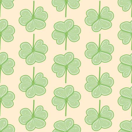 Cute Clover vector background pattern. Three leaf shamrock seamless illustration.