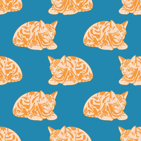 Cute ginger cat seamless pattern background. Seated kitten with green eyes vector illustration.  イラスト・ベクター素材