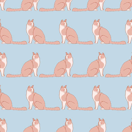 Seated fluffy kitten seamless pattern background. Cute cat looking back vector illustration.